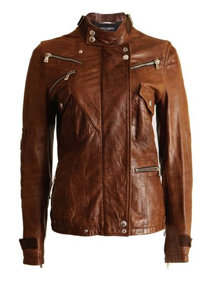 Dolce & Gabbana Dolce&Gabbana, brown leather bickerjacket with silver zippers in size S.