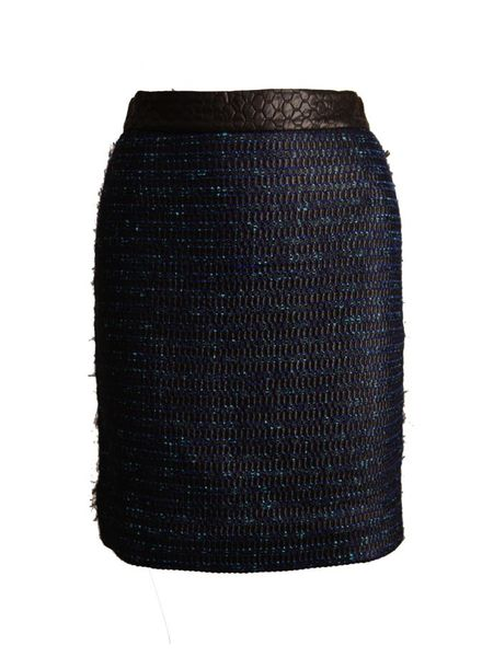 Proenza Schouler Proenza Schouler, blue tweed skirt with black quilted waistband in size 4/XS.