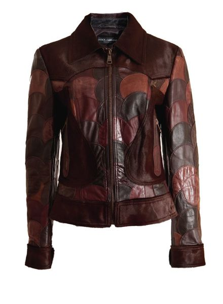 Dolce & Gabbana Dolce&Gabbana, leather brown colored patchwork jacket in size 44IT/S.