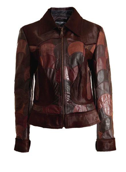 Dolce & Gabbana Dolce&Gabbana, leren bruine patchwork jas met ponyskin in maat 44IT/S.