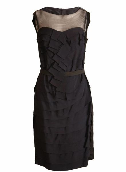 Lanvin Lanvin, black/blue evening dress with see-through details and elastic waistband in size 40FR/S.