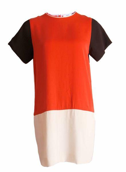 Celine Celine, silk dress in orange/black/white in size S.