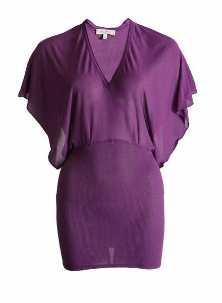 Etro Etro, paarse jurk met fladder mouwen in maat 46 IT/M.