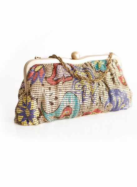 Whiting & Davis Whiting & Davis, gold/multicolored mesh clutch with chain.