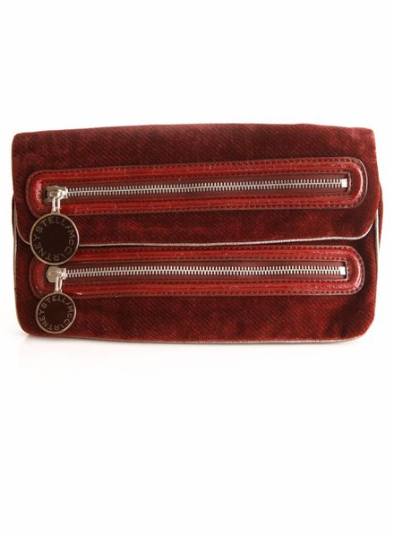 Stella McCartney Stella McCartney, Bordeaux velour clutch with matching wallet.