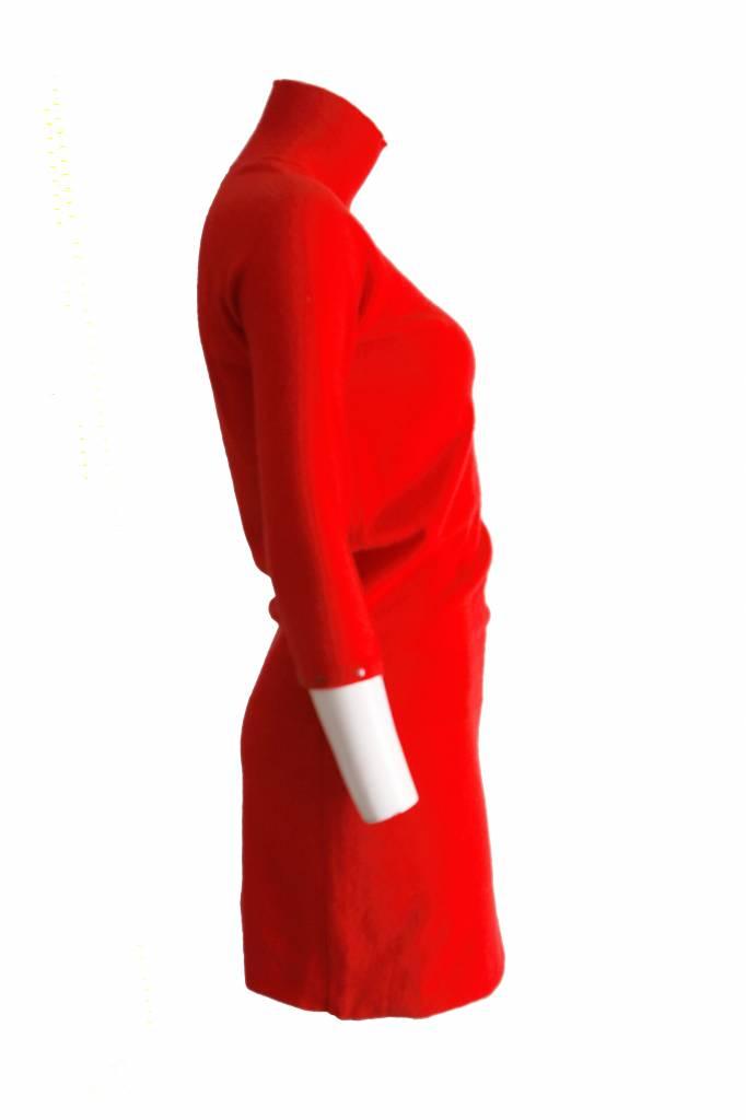 Rode Wollen Jurk.Louis Vuitton Louis Vuitton Rode Wollen Cashmere Jurk Met Col En