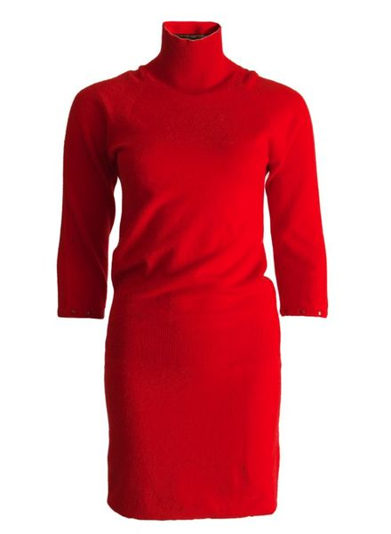 Louis Vuitton Louis Vuitton, red woolen/cashmere dress with turtle neck and ¾ sleeves in size M.