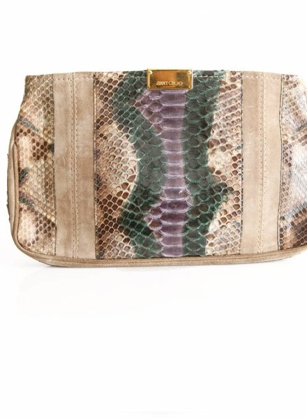 Jimmy Choo Jimmy Choo, suede/pythonleather clutch in camel with green/purple.