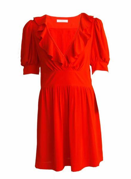 Chloé Chloe, rood/oranje romantische jurk in maat FR40.