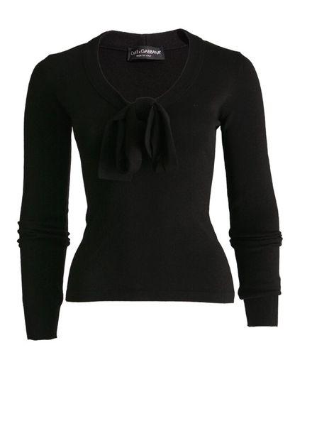 Dolce & Gabbana Dolce&Gabbana, zwarte wollen trui met strik op de borst in maat IT44/M.