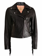 Goosecraft Goosecraft, black leather jacket with fringes on the sleeve in size S.