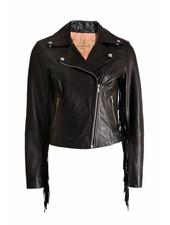 Goosecraft Goosecraft, black leather jacket with fringes.