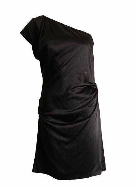 Diane VonFurstenberg Diane Von Furstenberg, zwarte een schouder jurk in maat 8/S.