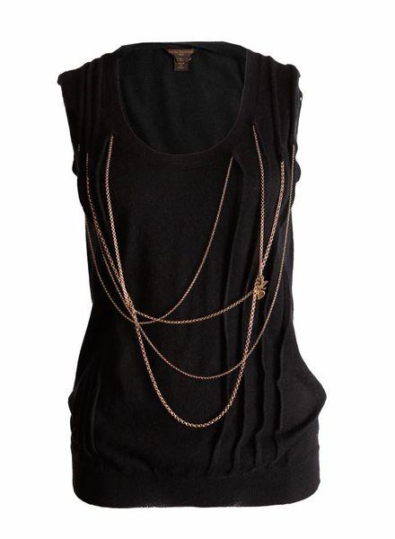 Louis Vuitton Louis Vuitton, black cashmere tanktop with golden chains in size L.