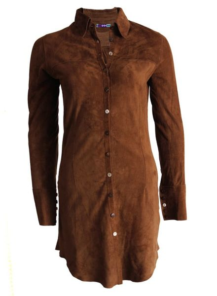 ByDanie ByDanie, camelkleurige suede bloes jurk in maat S.
