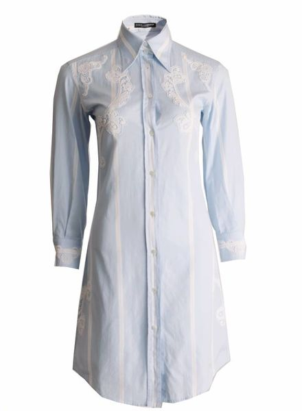 Dolce & Gabbana Dolce&Gabbana, blue shirt dress with lace details in size 38IT/XS.