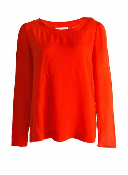 Chloé Chloe, orange top with golden buttons.