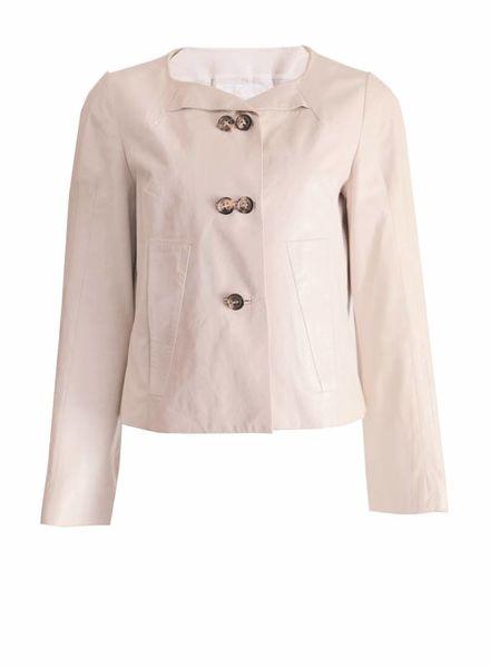 Chloé Chloe, beige/off-white lamsleren jas in maat FR42/M.