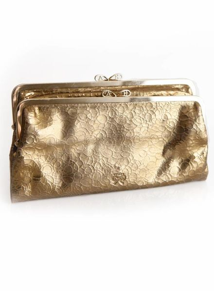 Anya Hindmarch Anya Hindmarch, gold fold-out wallet clutch in leather.