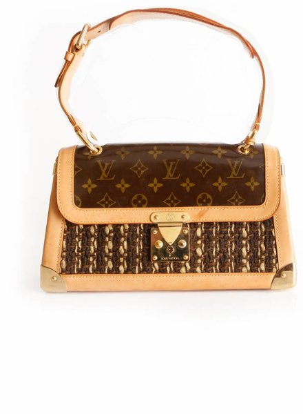 "Louis Vuitton Louis Vuitton, brown limited edition "" Shuhali"" shoulderbag with patent leather monogram print, boucle and camel colored leather."