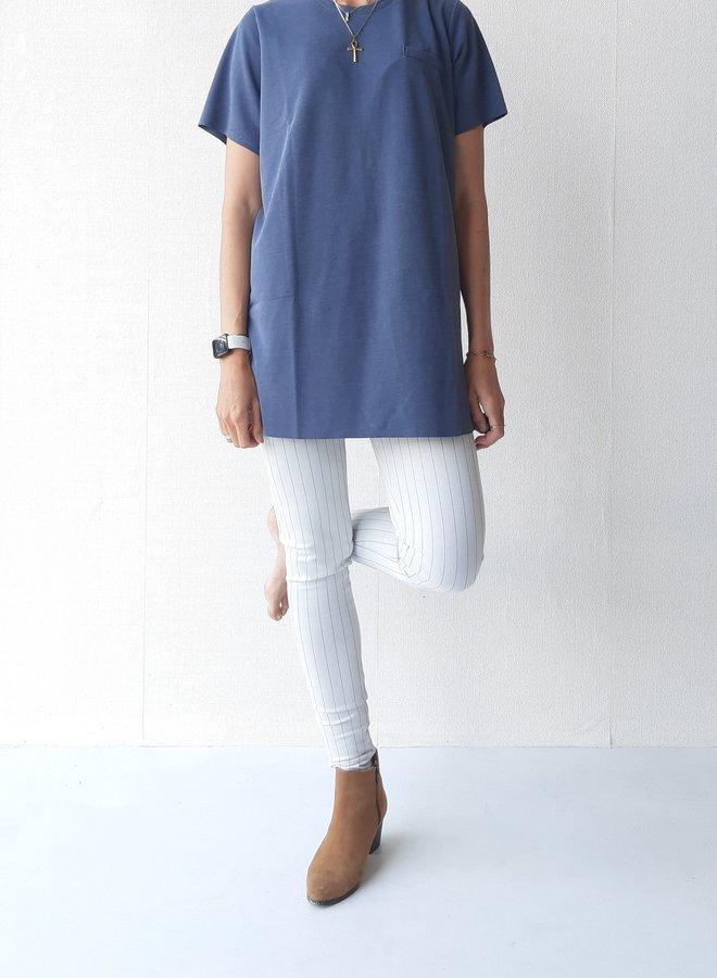 Pantalon   extra lang   wit met lichte krijtstreep