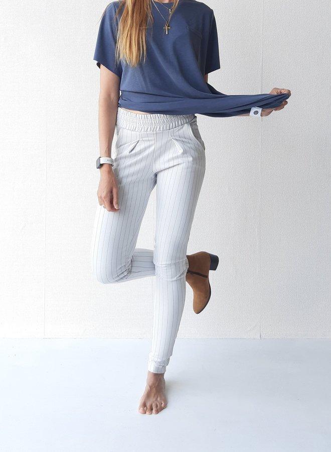 Pantalon   wit met krijtstreep