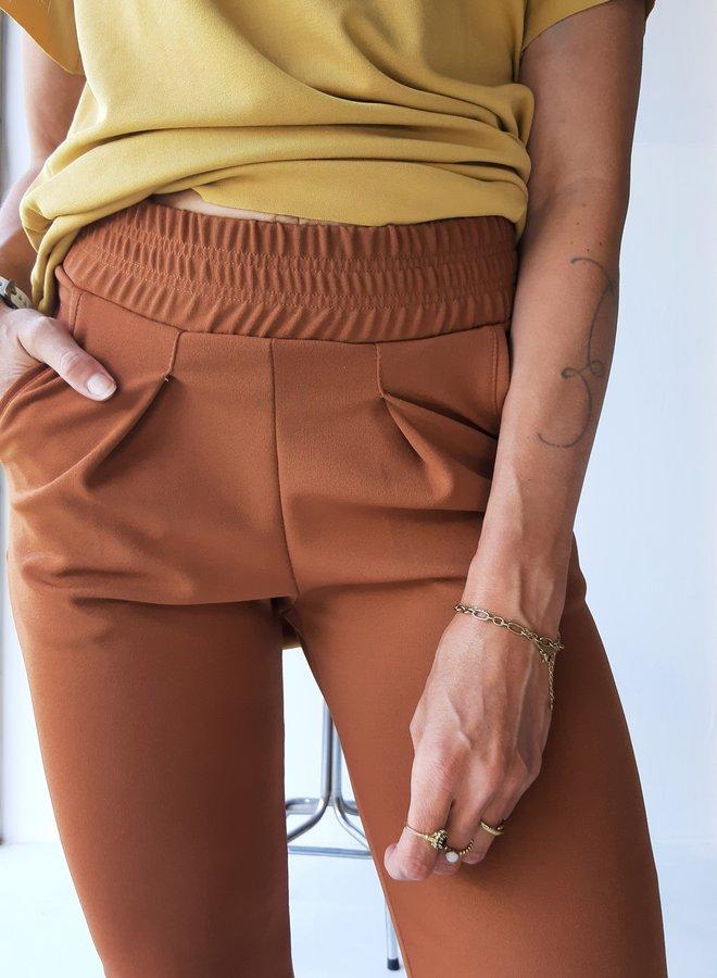 Brown crepe fabric pants longwear
