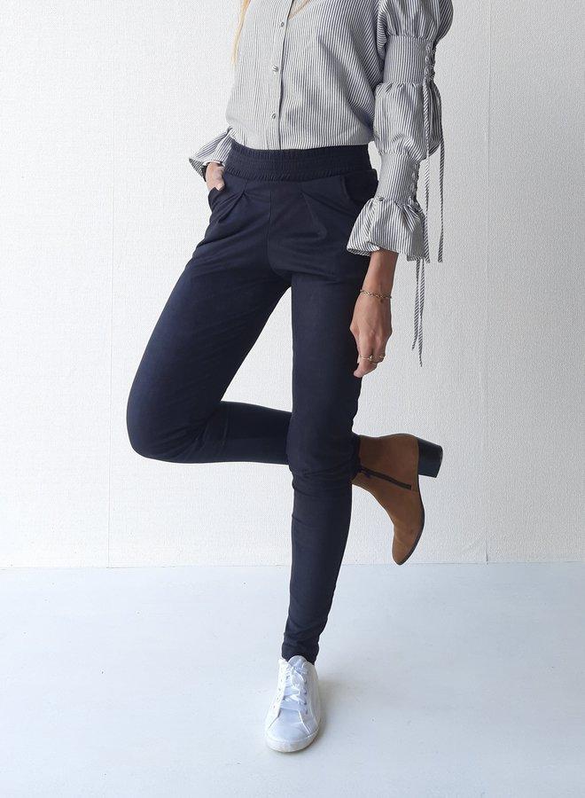 Suede pantalon extra lang