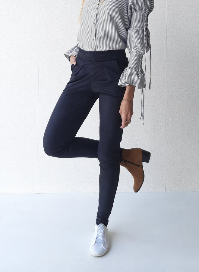 Suede trousers extra long black