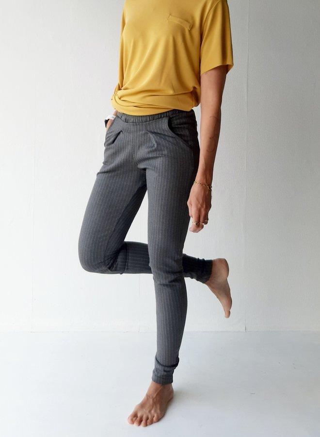 Pantalon | grijs met krijtstreep