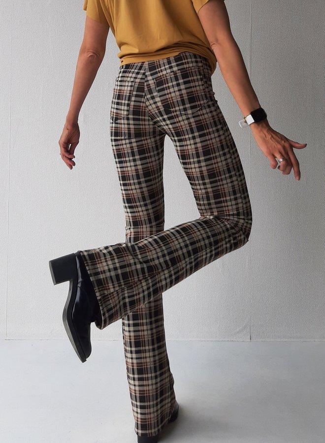 Flared pants | extra lang | ruiten print