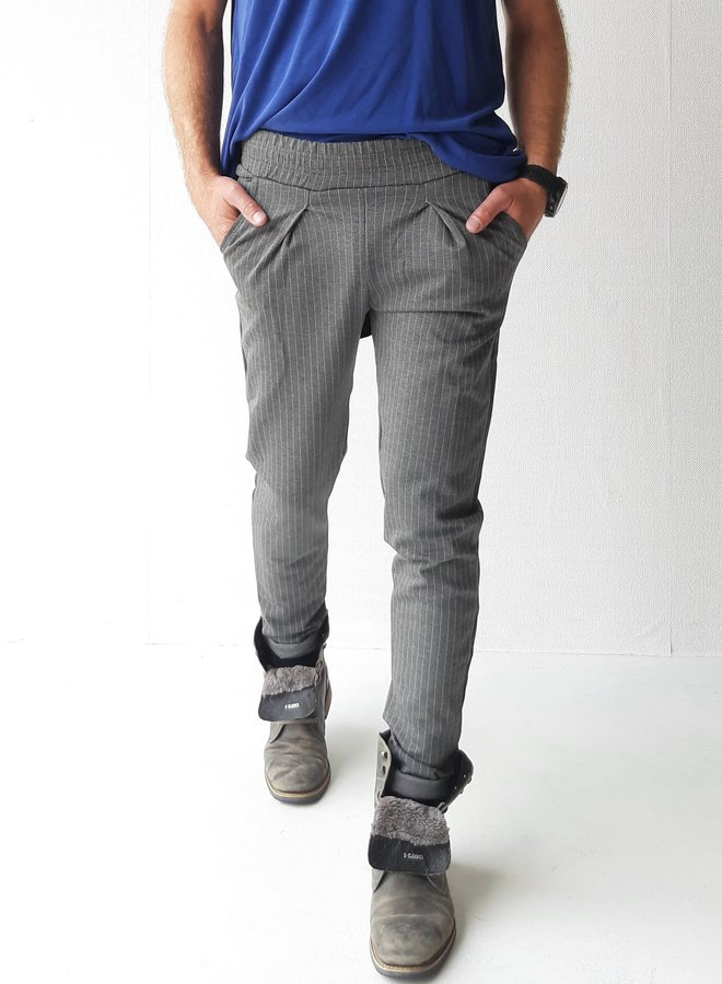 Pantalon | extra lang | grijs met lichte krijtstreep