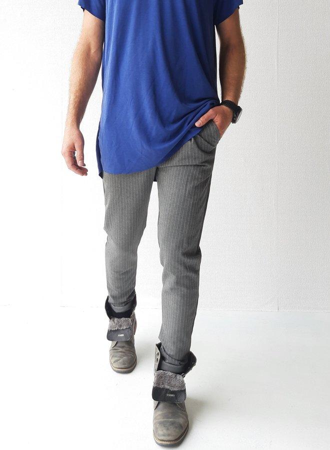 Trousers grey   pinstripe