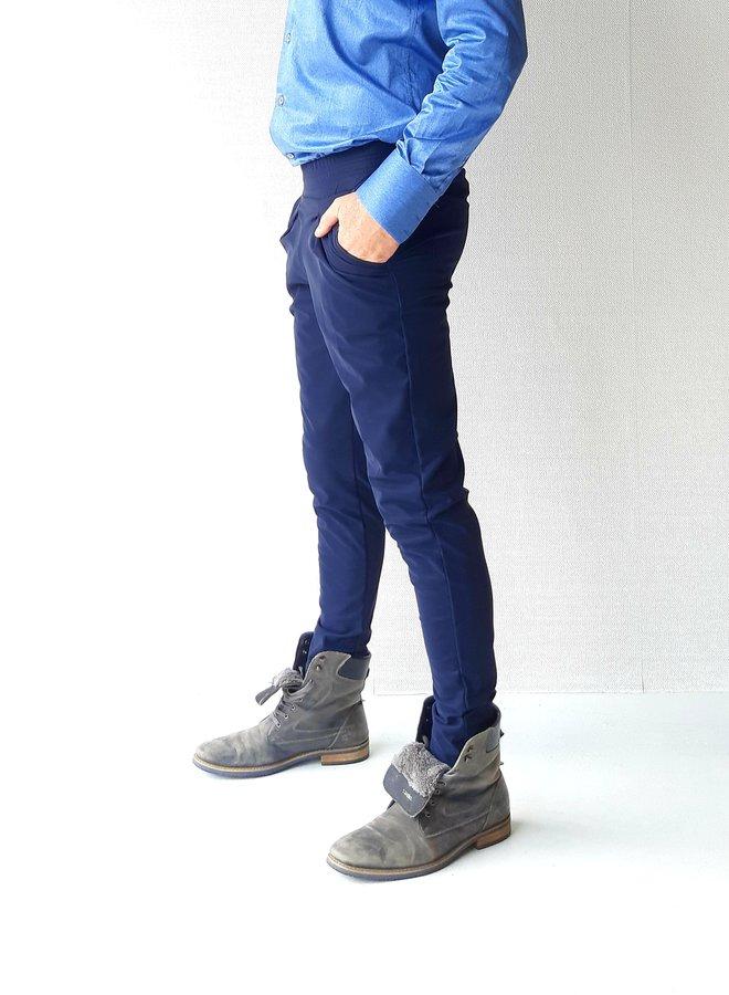 Chino  heren | In lederlook blauw