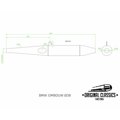 Original Classics Conversion exhaust RHS 38mm