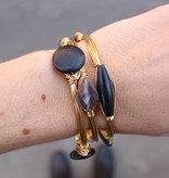 Boho Babes Zwart Ovaal Gold Wired Bangle