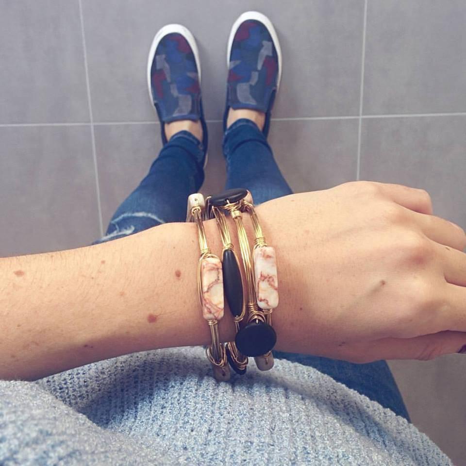 Boho Babes Zwart Rond Gold Wired Bangle