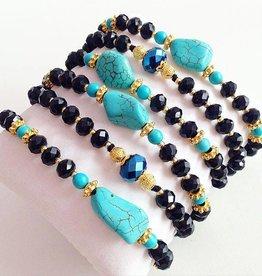 Boho Babes Majou Turquoise Black armband