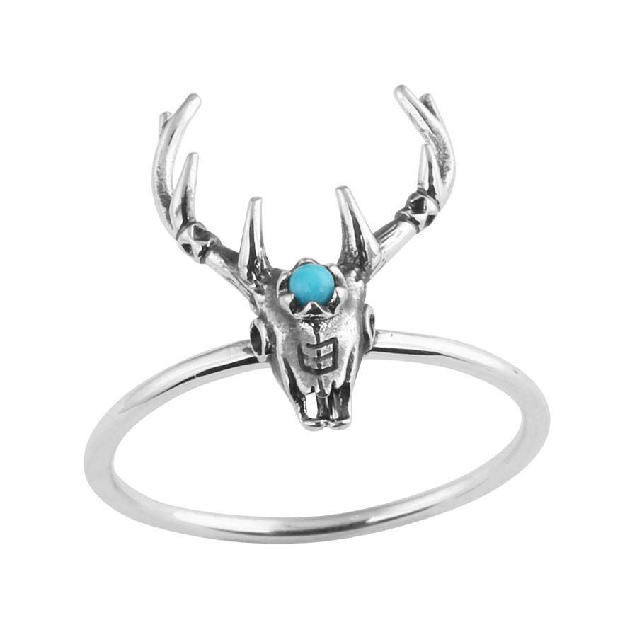Midsummer Star Antler Skull Ring