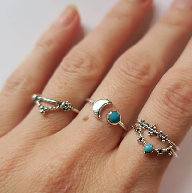 Midsummer Star Turquoise Crown Ring