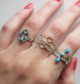 Midsummer Star Dubbele Triangle Ring Turquoise