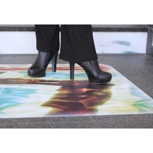 Witte, sterk antislip en direct bedrukbare grafische vloerfilm met R13-certificering - ASLAN DFP-43  - 137 cm