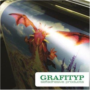 GRAFIPRINT S24P ± 75 micron dikke polymeer gekalanderde witte glanzende PVC film met een grijze permanente  lijm