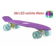2Cycle Skateboard Paars-Blauw met LED wielen 22.5 inch