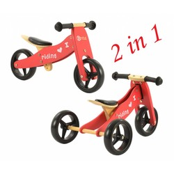 2Cycle Loopfiets-Driewieler Hout 2 in 1 rood