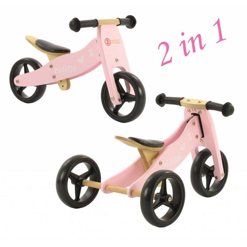 2Cycle Loopfiets-Driewieler Hout 2 in 1 roze (1331)