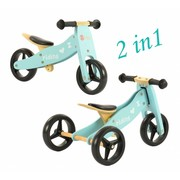 2Cycle Loopfiets-Driewieler Hout 2 in 1 blauw