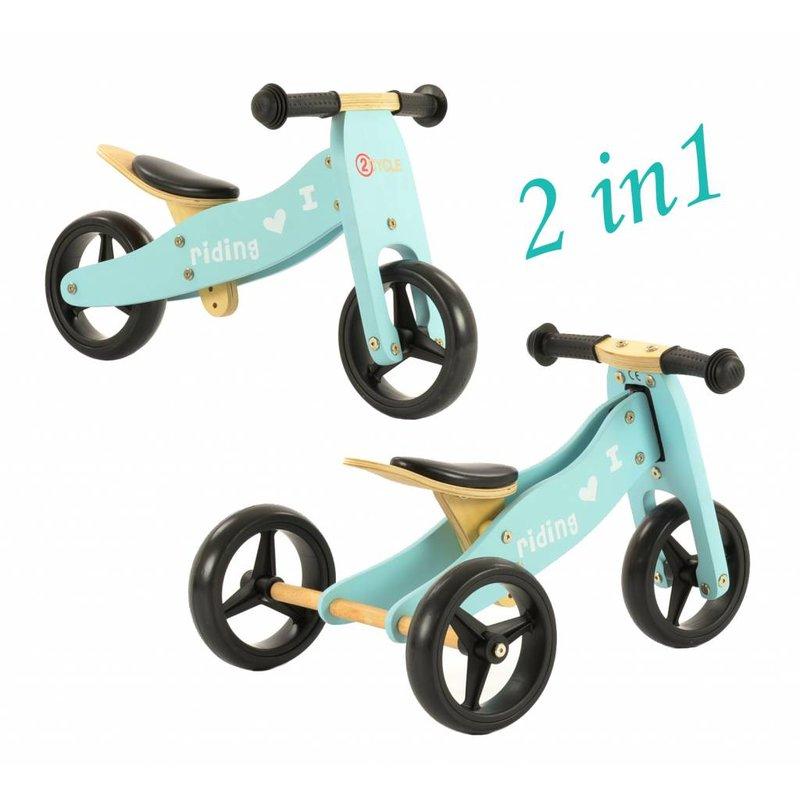 2Cycle Loopfiets-Driewieler Hout 2 in 1 blauw (1332)