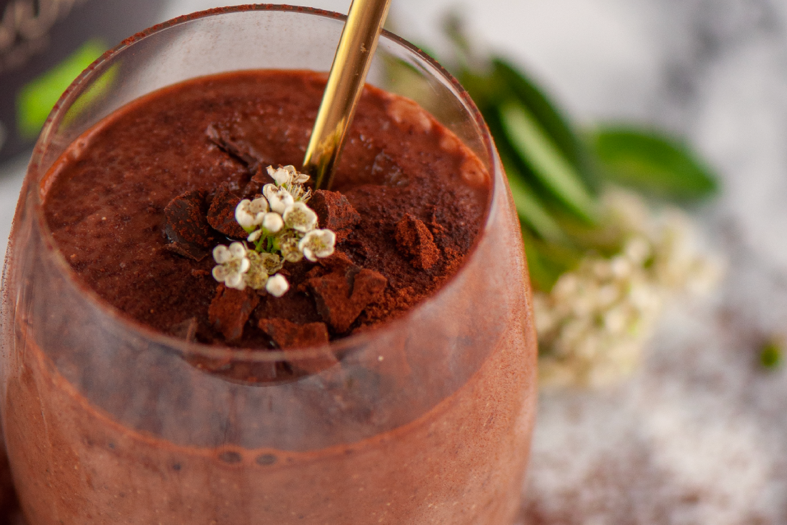 Organic muscle building chocolate shake