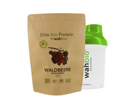 Elite Organic Protein by wahbio | Mixed Berries 450 Gr. with Travel Shaker 300ml